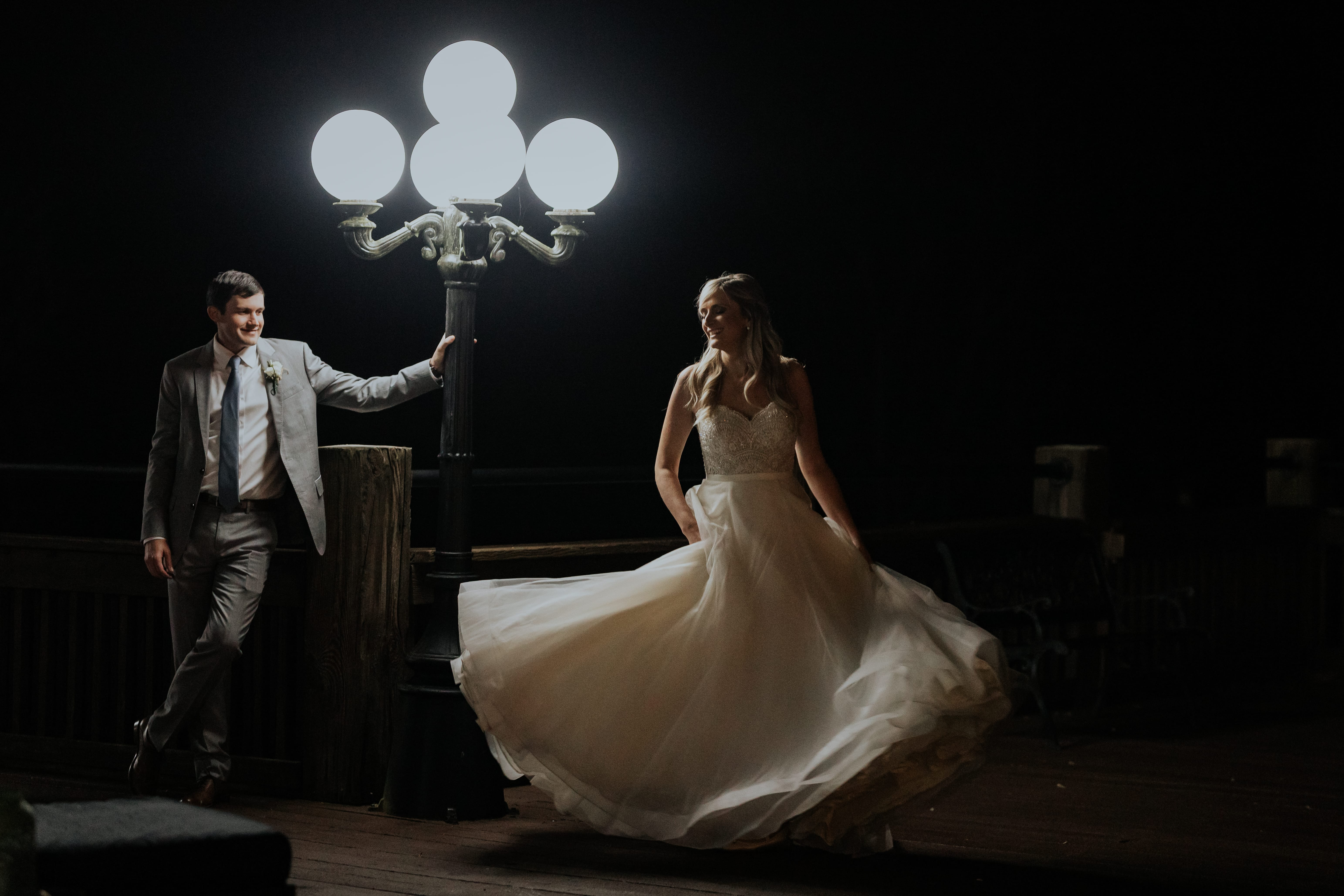 Atlanta Wedding Photographer Bride dancing Lamp Post