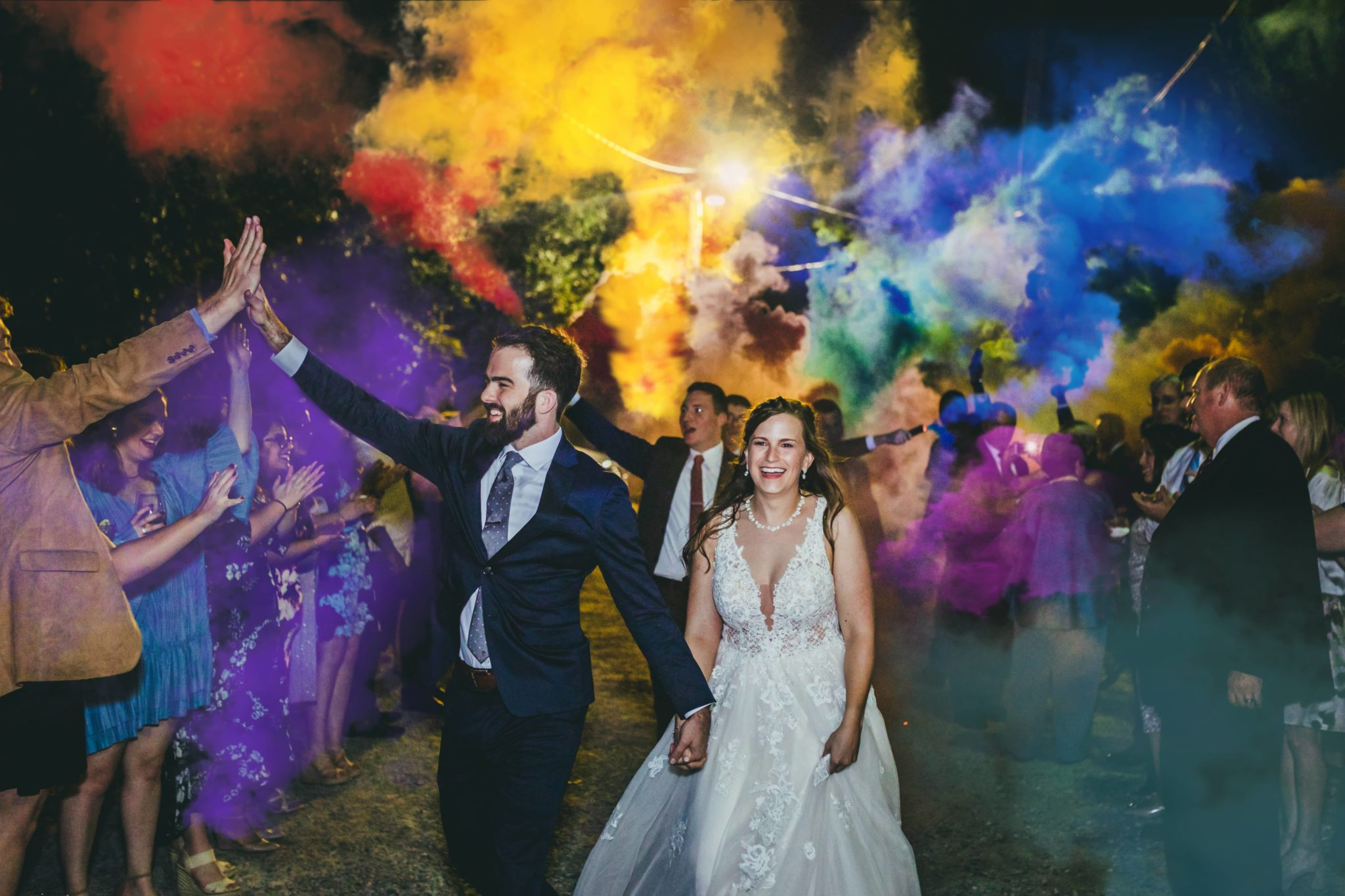 Atlanta Wedding Photographers Colored Smoke Bomb Exit