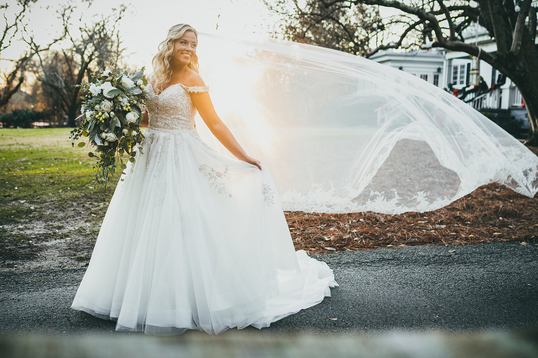 Atlanta Wedding Photographer, Bride, veil, sunset, wind Love & Story Weddings