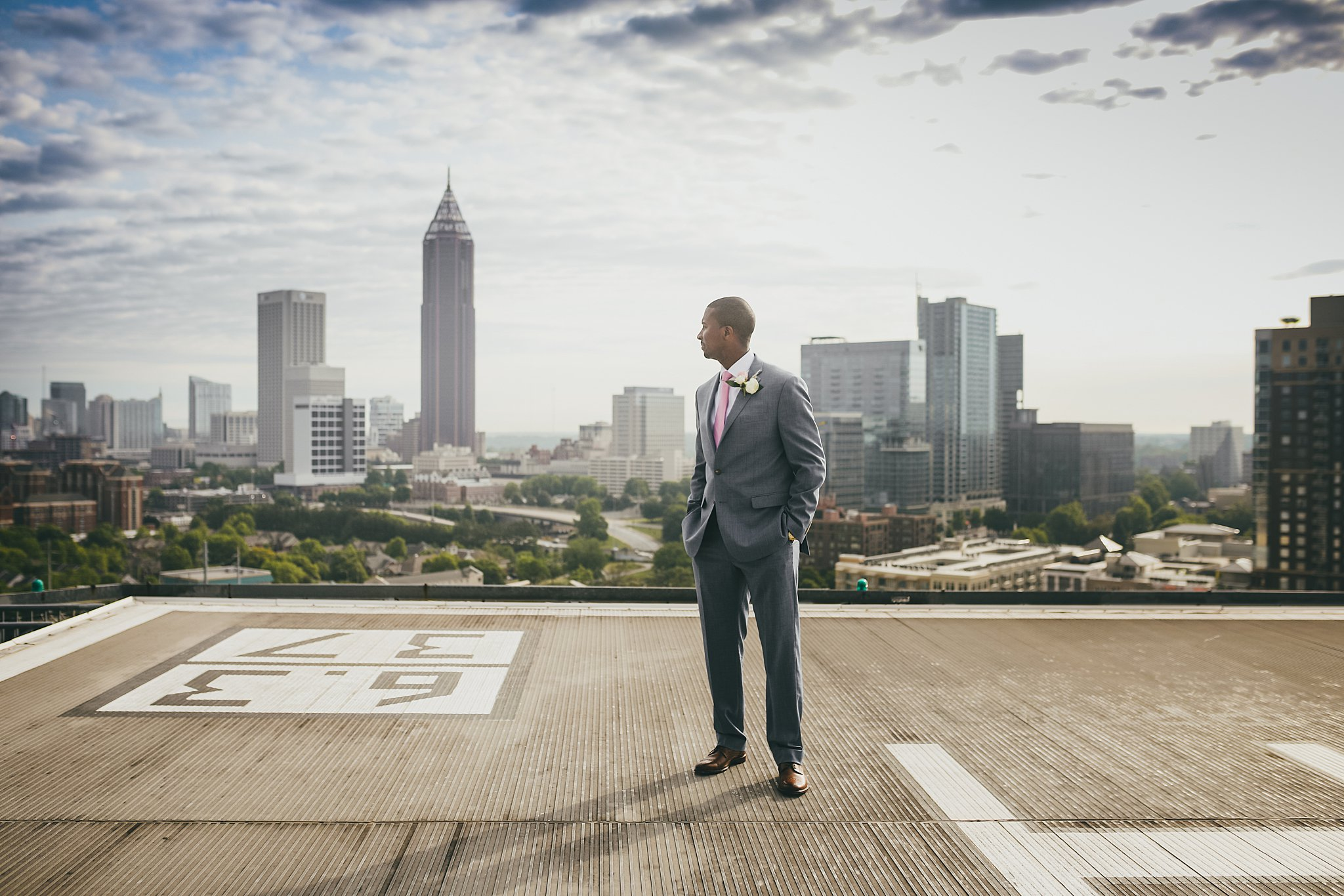 Atlanta Wedding Photographers Ventana's Rooftop Groom Portrait City Skyline