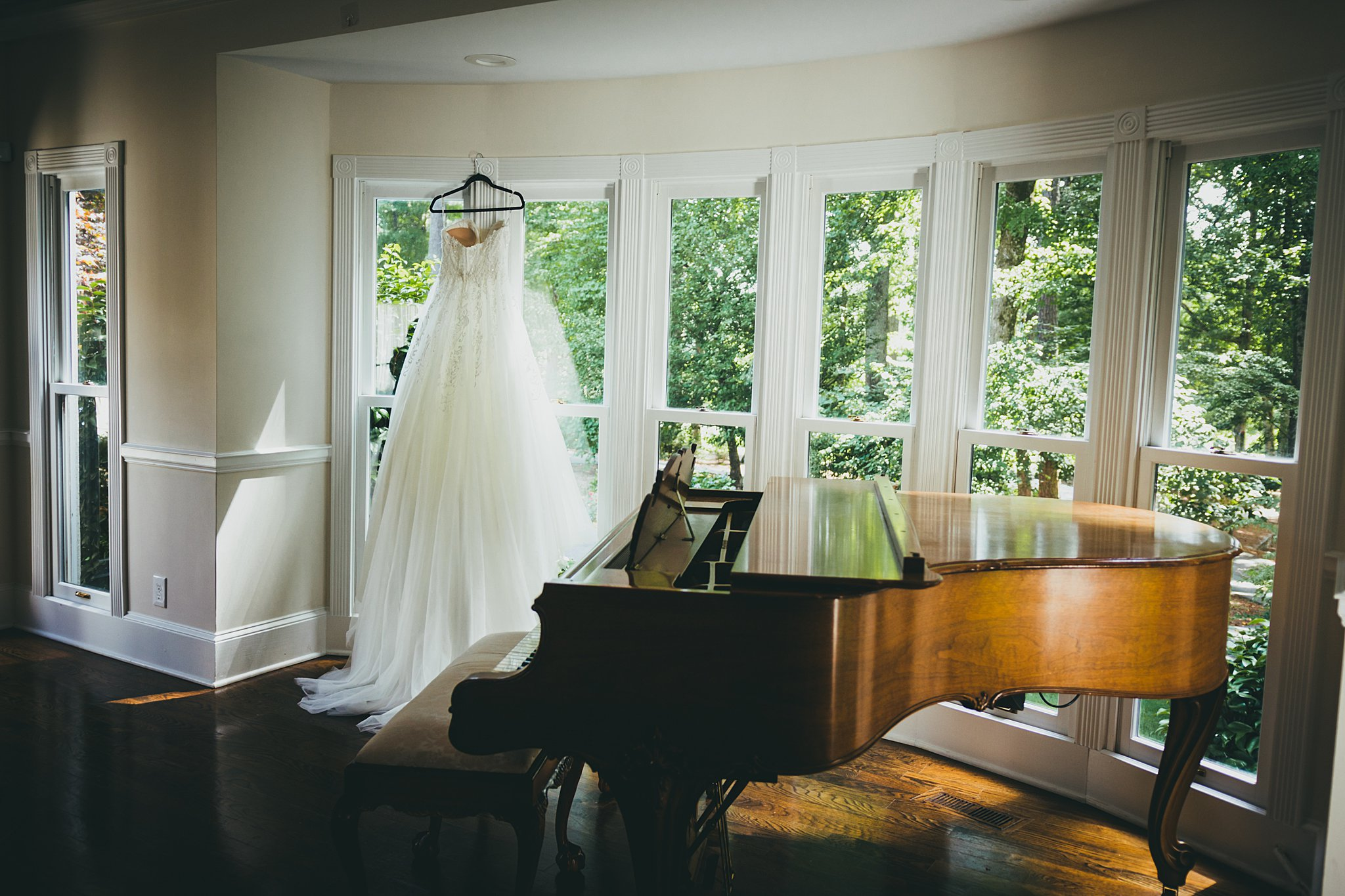 Little River Farms Wedding Milton, GA Atlanta Wedding Photographers Wedding dress and Piano