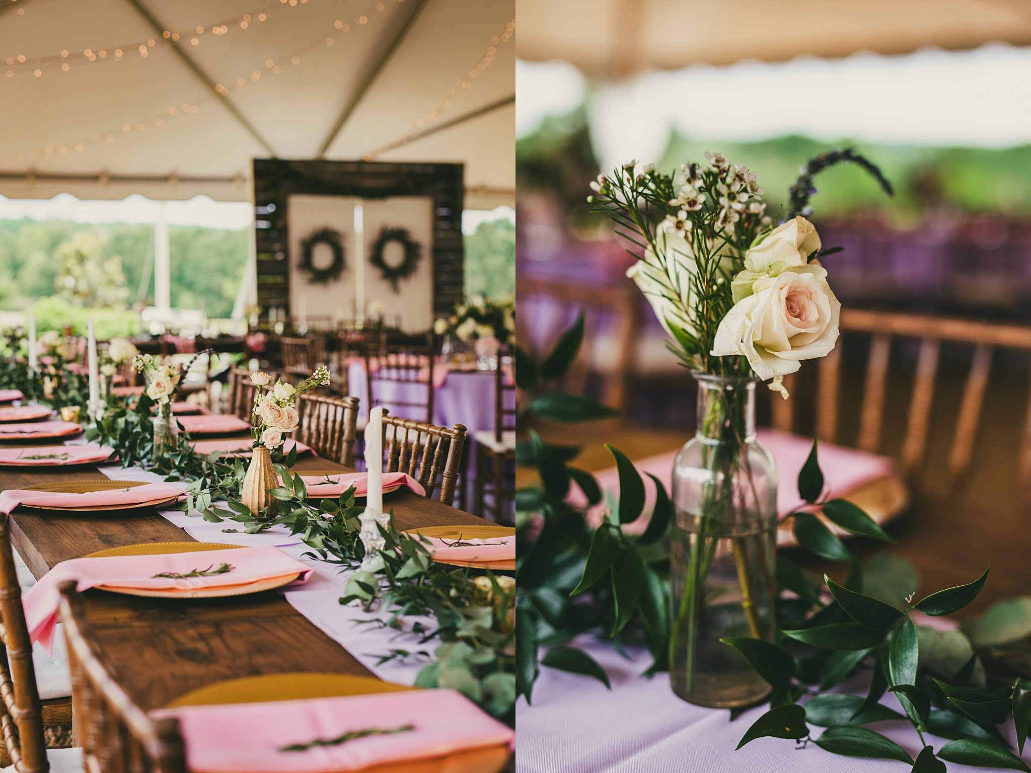 Atlanta Wedding Photographers Pink and Lilac Reception Details
